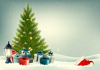 Retro holiday background with a Christmas tree and presents. Vector.