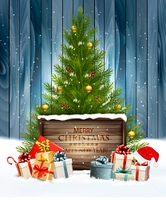 Holiday background with a Christmas tree and presents with santa hat. Vector