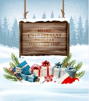 Christmas background with a retro wooden sign and gift boxes. Vector