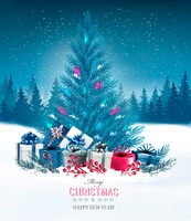 Holiday background with a blue Christmas tree and presents. Vector