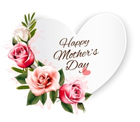 Happy Mother's Day background with a heart-shaped card and colorful roses. Vector.