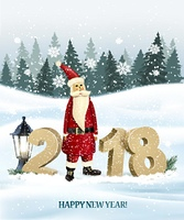 Happy New Year 2018 background with presents and Santa Claus. Vector.