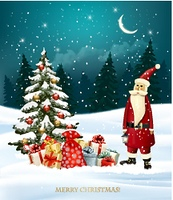 Christmas holiday background with gift boxes and Santa Claus. Vector illustration