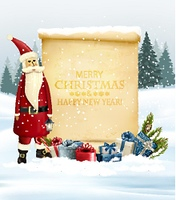 Holiday Christmas background with Santa Claus and a gift boxes and old paper. Vector