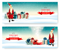 Two Holiday Christmas banners with a gift boxes and Santa Claus. Vector