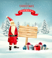 Christmas holiday background with Santa Claus and wooden sign. Vector illustration