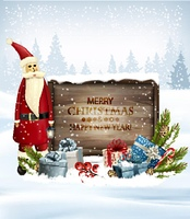 Holiday Christmas background with Santa Claus and a gift boxes and wooden sign. Vector