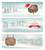 Holiday Christmas banners with winter landscare and wooden sign. Vector.
