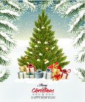Holiday background with a Christmas tree and presents. Vector