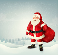 Christmas holiday background with Santa Claus holding a sack full presents and landscape. Vector illustration
