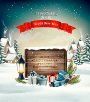 Merry Christmas Background with presents and wooden board. Vector