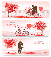 Holiday retro banners. Valentine trees with heart-shaped leaves and bicycle. Vector