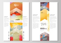 Blog graphic business templates. Page website design template, easy editable, abstract flat layout. Abstract colorful triangle design vector background with polygonal molecules.