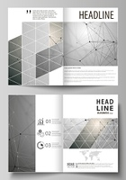 Business templates for bi fold brochure, magazine, flyer. Cover design template, vector layout in A4 size. Chemistry pattern, molecule structure on gray background. Science and technology concept.. Business templates for bi fold brochure, magazine, flyer,