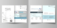 Business templates for bi fold brochure, flyer, report. Cover design template, vector layout in A4 size. Chemistry pattern, connecting lines and dots, molecule structure on white, geometric background. Business templates for bi fold brochure, magazine, fl