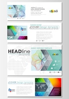 Social media and email headers set, modern banners. Business cover template, easy editable vector, flat layout in popular sizes. Colorful design background with abstract shapes, waves. Overlap effect.. Social media and email headers set, modern banners. B