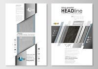 Blog graphic business templates. Page website design template, easy editable, flat layout. Abstract 3D construction and polygonal molecules on gray background, scientific technology vector.. Blog graphic business templates. Page website design template, e