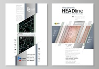 Blog graphic business templates. Page website design template, vector layout. Chemistry pattern, molecular texture, polygonal molecule structure, cell. Medicine, science, microbiology concept.. Blog graphic business templates. Page website design template