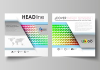 Business templates for square design brochure, magazine, flyer, annual report. Leaflet cover, vector layout. Colorful rectangles, moving dynamic shapes forming abstract polygonal style background.. Business templates for square design brochure, magazine,