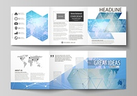 The minimalistic vector illustration of the editable layout. Two modern creative covers design templates for square brochure or flyer. World map on blue, geometric technology design, polygonal texture. The minimalistic vector illustration of the editable