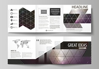 Set of business templates for tri fold square design brochures. Leaflet cover, flat layout, easy editable vector. Dark color triangles and colorful circles. Abstract polygonal style modern background.. Set of business templates for tri fold square design