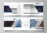 Business templates for tri fold square brochures. Leaflet cover, vector layout. Abstract polygonal background with hexagons, illusion of depth. Black color geometric design, hexagonal geometry.. Set of business templates for tri fold square design brochur