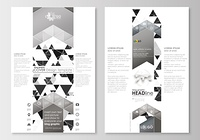 Blog graphic business templates. Page website design template, easy editable, abstract flat layout. Abstract triangle design background, modern gray color polygonal vector.