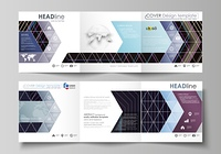 Set of business templates for tri fold square design brochures. Leaflet cover, abstract flat layout, easy editable vector. Abstract polygonal background with hexagons, illusion of depth and perspective. Black color geometric design, hexagonal geometry.