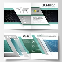 Templates for square design bi fold brochure, magazine, flyer. Leaflet cover, easy editable vector layout. Chemistry pattern, hexagonal molecule structure. Medicine, science and technology concept