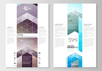 Blog graphic business templates. Page website design template, easy editable, flat layout. Abstract triangles, blue triangular background, colorful polygonal pattern.. Blog graphic business templates. Page website design template, easy editable, abstract