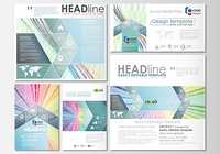 Social media posts set. Business cover template, easy editable flat layout in popular formats, vector illustration. Colorful background, abstract waves, lines. Bright color curves. Motion design.. Social media posts set. Business templates. Cover template