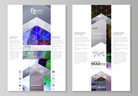 Blog graphic business templates. Page website design template, easy editable abstract vector layout. Glitched background made of colorful pixel mosaic. Digital decay, signal error, television fail.. Blog graphic business templates. Page website design tem