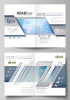 The vector illustration of the editable layout of two A4 format modern cover mockups design templates for brochure, flyer, report. World map on blue, geometric technology design, polygonal texture.. The vector illustration of the editable layout of two A4