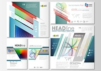 Social media posts set. Business templates. Cover template, easy editable flat layout in popular formats, vector illustration. Colorful design background, abstract shapes and waves, overlap effect. Social media posts set. Business templates. Cover templat