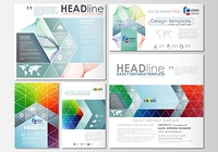 Social media posts set. Business templates. Cover template, easy editable flat layout in popular formats, vector illustration. Colorful design background with abstract shapes and waves, overlap effect.. Social media posts set. Business templates. Cover te