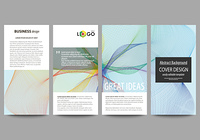 Flyers set, modern banners. Business templates. Cover template, easy editable, flat style layouts, vector illustration. Colorful design background with abstract waves.. Flyers set, modern banners. Business templates. Cover template, easy editable, flat st