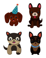 Dogs and puppies collection, poster with pets, of different breeds, pug and basset hound, labrador and chihuahua, dachshund dog on vector illustration. Dogs and Puppies Set Poster Vector Illustration