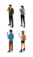 Adult men and women speaking on telephone, communication by smartphone vector isolated on white. Students or college cartoon characters, stylish guys. Adult Men and Women Speaking on Telephone Vector