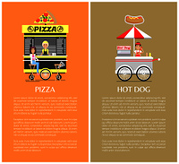 Pizza and hot dog mobile shops vector illustration colorful backgrounds isolated text sample cute stands with street food, outdoor snack bars. Pizza and Hot Dog Mobile Shops Vector Illustration