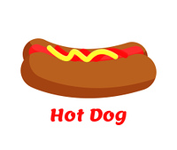 Hot dog street food colorful vector illustration of tasty fast snack with sausage and ketchup mustard on it, hot-dog logo isolated white backdrop. Hot Dog Street Food Colorful Vector Illustration