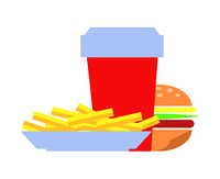 Burger made of bun, ham and french fries, red cup filled with drink, dishes to feel full, prepared potato, beverage isolated on vector illustration. Burger and French Fries Set Vector Illustration