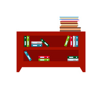 Wooden cabinet full of books and folders of documents. Furniture for office with spacious shelves to keep papers isolated cartoon vector illustration.. Cabinet Full of Books and Folders of Documents