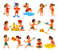 Children play in sand and have fun on beach set. Kids build castle, eat watermelon, fly kite, throw ball, run with water pistols vector illustrations.. Children Play in Sand and Have Fun on Beach Set