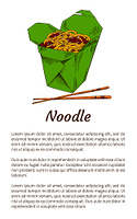 Noodle served with chopsticks poster with headline. Traditional Chinese meal in package with sauce. Dish topped with sesame seeds vector illustration. Noodle with Chopsticks Poster Vector Illustration