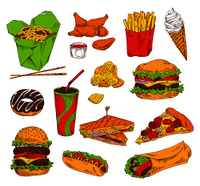 Fast food and snack set color vector illustration isolated chips ice cream fried potatoes and chicken, hamburger and sandwich with donut and pizza. Fast Food and Snack Set Color Vector Illustration