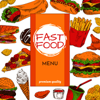 Fast food menu premium quality. Ice cream chocolate donut desserts. Hamburger with salad leaves and cheese, soft french fries vector illustration. Fast Food Menu Premium Quality Vector Illustration