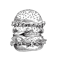 Hand drawn double burger vector monochrome illustration. Fast food badge sketch style for brochures and banner restaurant menu and cafe cover template. Hand drawn double burger vector monochrome sketch