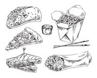 Take away meal for snack bar. Taco and burrito, pizza and sauce, Chinese noodles in box and English triangular sandwiches. Monochrome icons set in sketch style.. Snack Bar Take Away Meal Illustation Sketch Set