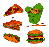 Pizza hot dog sandwich noodle and big hamburger isolated on white background vector illustration of fast food, collection of different appetizers. Pizza Hot Dog Sandwich Noodle and Big Hamburger