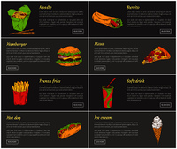 Noodles and burrito posters set. Fast food dishes hamburger and pizza slice with sausages and cheese. Soft drink and ice cream vector illustration. Noodles and Burrito Posters Set Vector Illustration